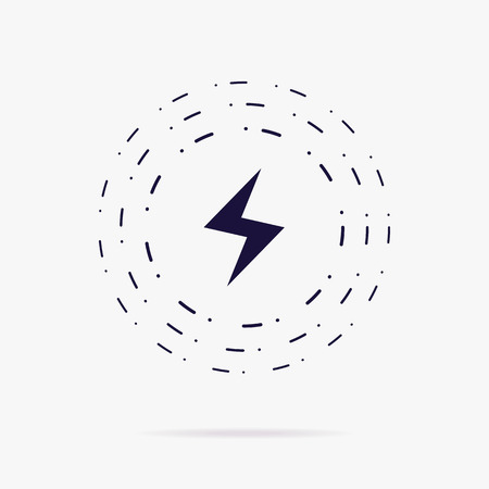 Wireless charging vector icon isolated on white background for fast charge smartphone, wireless technology, thunder energy. Lightning icon 10 eps