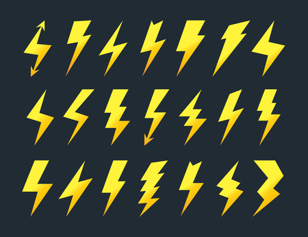 Yellow lightning icon vector set isolated on black background flat style for wireless charging, electricity power symbol, thunder logo, high voltage sign, poster, t shirt. Flash light sign 10 eps