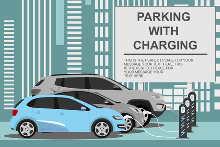 electric cars charging and charger station banner. Eco car concept for electromobility, modern technology. Vector