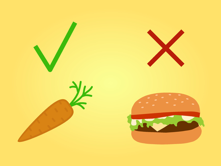 healthy eating concept. Healthy vs fast food banner for vegetable diet, lifestyle. Hamburger and carrot. Vector 10 eps