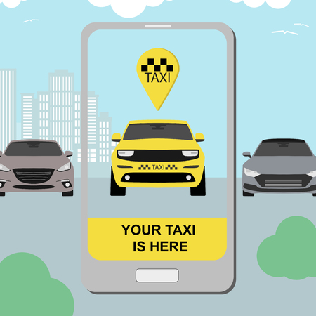 taxi service concept with smartphone app and city background flat style for transfer airport banner. Vector Illustration