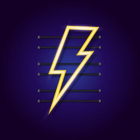 Energy logo neon style for electric power logo, lightning bolt, wireless charging, ui, poster, t shirt. Thunder symbol. Storm pictogram. Flash light sign. Vector Foto de archivo - 123330340
