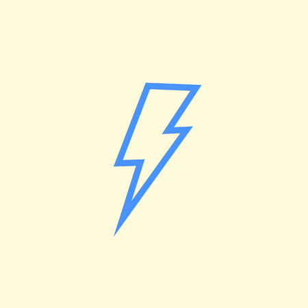 Vector lightning bolt icon isolated on background for energy, electric power logo, wireless charging, ui, poster, t shirt. Thunder symbol. Storm pictogram. Flash light sign.