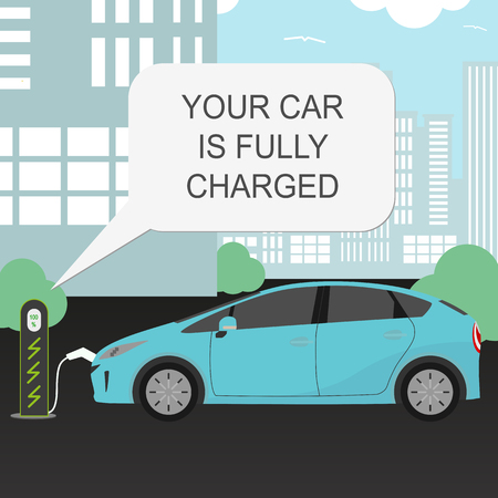 vector electric car and charging station concept. Eco car banner. Modern technology. Imagens