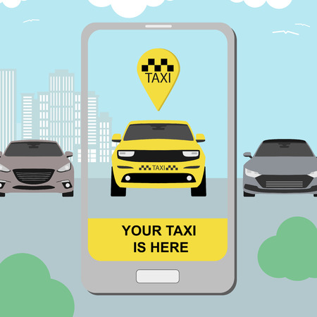 taxi service concept with smartphone app and city background flat style for transfer airport banner. Vector Imagens