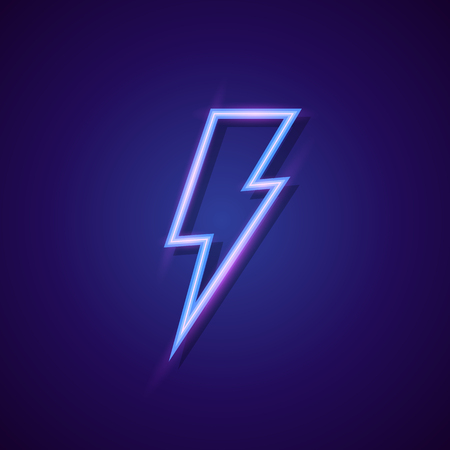 Vector energy lightning bolt logo neon style for electric power logo, wireless charging, ui, poster, t shirt. Thunder symbol. Storm pictogram. Flash light sign. Vector