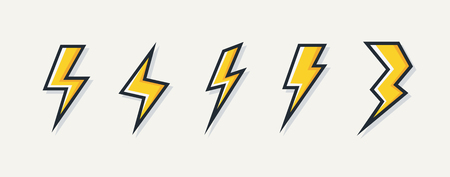 Vector electric lightning bolt logo set isolated on white background for electric power symbol, poster, t shirt. Thunder icon. Storm pictogram. Flash light sign.
