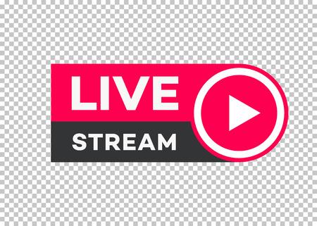 Icono de transmisión en vivo de vector estilo plano con botón de reproducción aislado sobre fondo transparente para blog, reproductor, transmisión, sitio web, radio en línea, etiquetas de medios, logotipo. Banner de transmisión en vivo. 10 eps Foto de archivo