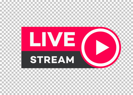 Vector live stream icon flat style with play button isolated on transparent background for blog, player, broadcast, website, online radio, media labels, logo. Live stream banner. 10 eps