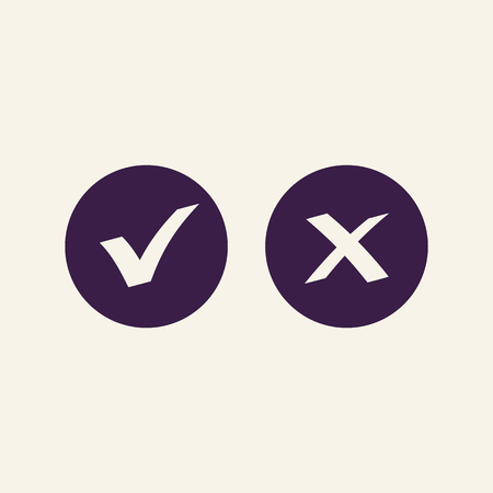 Checkmark OK and X vector button isolated on background.. Right and wrong check mark vector icons black color. Symbols YES and NO for decision making, vote, mobile app, web site. 10 eps Ilustração