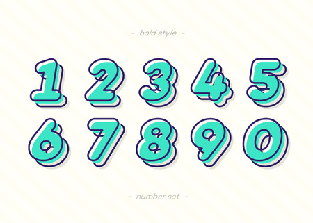 Numbers set 3d bold typography color style consisiting of 1, 2, 3, 4, 5, 6, 7, 8, 9, 0 for logo, poster, t shirt, book, sale banner, printing on fabric, birthday card. Modern font. Vector 10 eps Ilustração