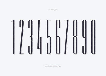 Set of numbers high style trendy typography consisiting of 1, 2, 3, 4, 5, 6, 7, 8, 9, 0 for logo, poster, t shirt, book, sale banner, printing on fabric, birthday card. Modern font. Vector Иллюстрация