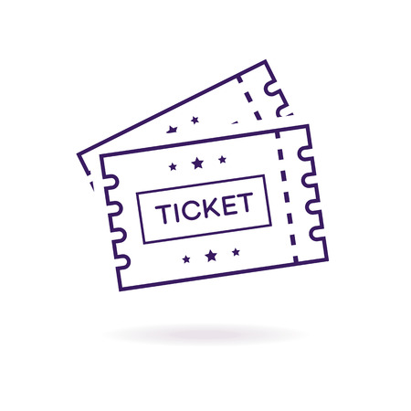 TIcket vector icon line style isolated on white background for cinema, website, ui, mobile app, music, live concert, dance event.