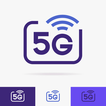 5G vector icons set isolated on background - new mobile communication technology and smartphone network symbol for website, ui, mobile app.