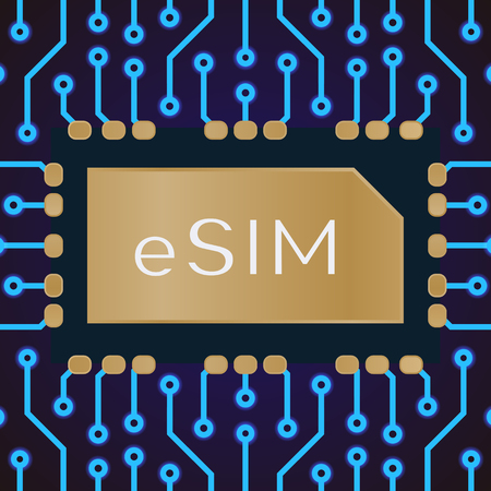 Embedded SIM concept. eSIM card chip sign on electrical background. New mobile cellular communication technology and 5G network. Vector 10 eps Ilustração