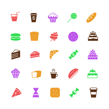 vector bakery icons set simple flat color style isolated on background with cake and dessert for logo, confectionery store, bakery shop, cafe, restaurant, sweet pattern, packaging paper