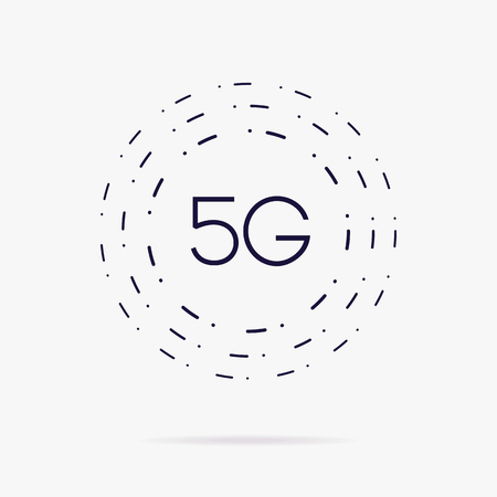 5G vector concept isolated on white background - new mobile communication technology and smartphone network symbol for website, ui, mobile app.