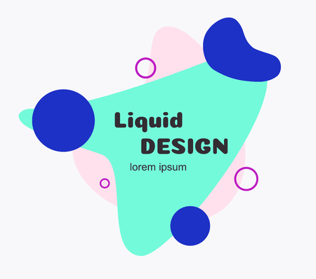 Liquid banner flat style. Minimal futuristic abstract shape for banner, logo, presentation, flyer, poster, web, print, social post. Isolated dynamic fluid geometric background. Vector