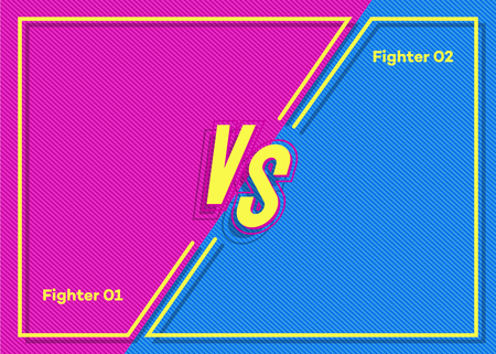 Vector versus banner with vs sign for match game, for battle, sport, competition, contest, announcement of two fighters. Modern VS concept. Vector Ilustração