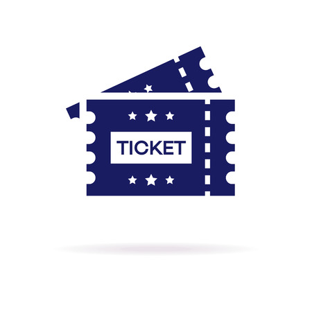 TIcket vector icon flat style isolated on white background for cinema, website, ui, mobile app, music, live concert, dance event.