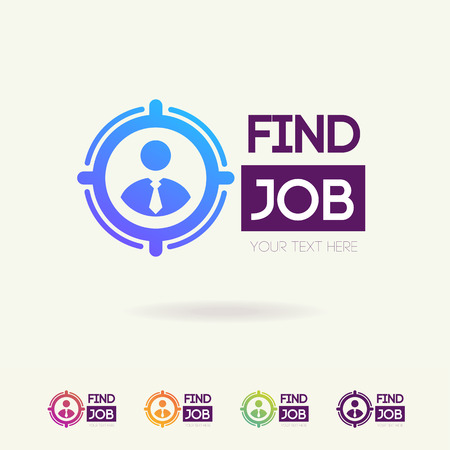 Find job symbol set isolated on white background for search agency, hiring, headhunter website, recruitment, employment agency, hr, recruiting concept. Search  icon. Employee vector sign