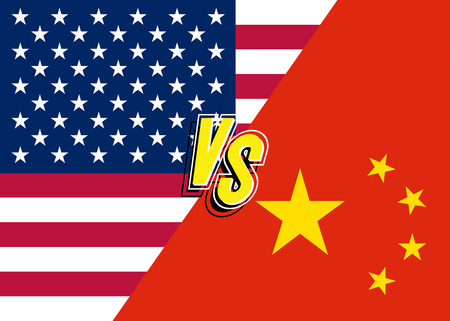 Trade war concept USA vs China. Conflict between America and China. Vector 10 eps