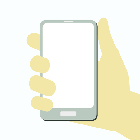 vector hand with smartphone and blank screen flat style for app, banner, illustration. 10 eps Ilustração