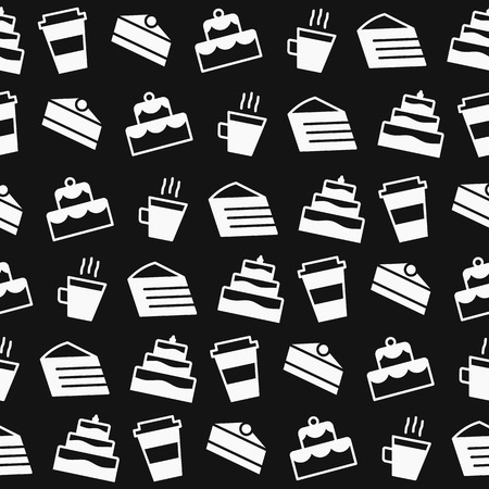 cake and coffee seamless pattern flat style black color for packaging wrapping paper, cafe, restaurant, sweet menu, bakery shop, website, dessert banner, cupcake. Baked background vector Ilustração