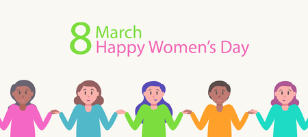 Happy womens day greeting card for International 8 march holiday with cute women flat style holding hands. Multicultural and multiracial friendship. Union of feminists, sisterhood. Vector 10 eps