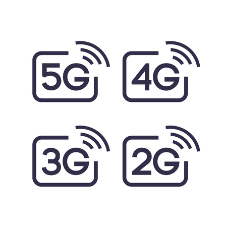 5G, 4G, 3G, 2G vector symbol set isolated on background - new mobile communication technology and smartphone network icons for website, ui, mobile app, banner.