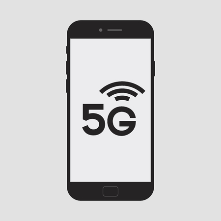 5G smartphone concept on bright background - new mobile communication technology and smartphone network symbol for banner, website, ui, mobile app.