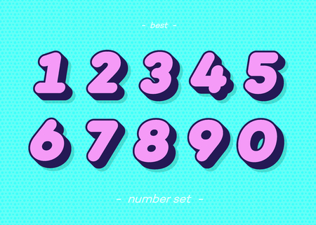 Set of numbers 3d bold typography colorful style consisiting of 1, 2, 3, 4, 5, 6, 7, 8, 9, 0 for logo, poster, t shirt, book, sale banner, printing on fabric, birthday card. Modern font. Vector 10 eps