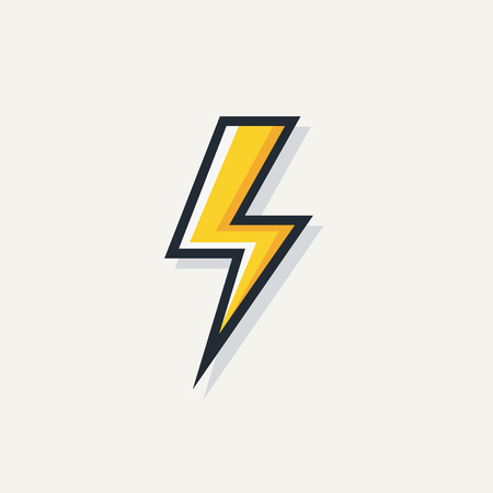 Yellow electric lightning bold vector symbol isolated on white background for electric power logo, poster, t shirt. Thunder icon. Storm pictogram. Flash light sign. Ilustração