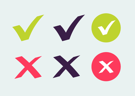 Checkmark OK and X vector icons set isolated on background. Symbols YES and NO for decision making, vote, mobile app, web site. Right and wrong check mark sign 10 eps Ilustração