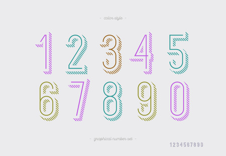 Numbers vector set outline style trendy typography consisiting of 1, 2, 3, 4, 5, 6, 7, 8, 9, 0 for logotype, poster, t shirt, book, sale banner, printing on fabric, birthday card. Modern font. 10 eps
