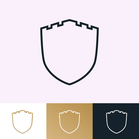 Shield vector icons set isolated on background for guard emblem, protection logotype, safe and security logotype your business. Vector Archivio Fotografico