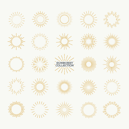 Sunburst vector set gold style isolated on background for logotype, emblem, logo, tag, stamp, t shirt, banner. Firework explosion, star.