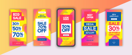 Mobile screen banner sale set with liquid abstract modern gradient background for  stories, presentation, flyer, poster, invitation. Screen backdrop for mobile app. Streaming. Vector