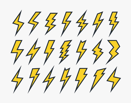 Set of lightning vector icons flat style isolated on white background for wireless charging, electricity power symbol, thunder logo, high voltage sign, poster, t shirt. Flash light sign