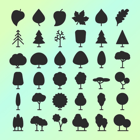set of vector tree and leaf icons for , nature cosmetics, ecology company, naturally firm, natural product store, organic shop, alternative medicine, green unity, farming. Imagens