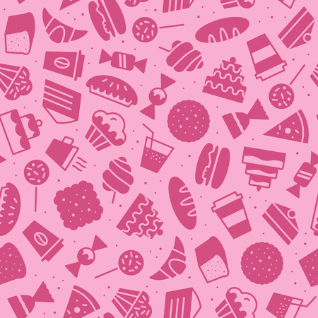 vector sweet simple pattern flat style pink color for packaging wrapping paper, cafe, restaurant, menu, bakery shop, website, dessert banner, cupcake. Baked background Imagens