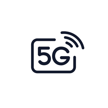 5g vector icon isolated on white background - new mobile communication technology and smartphone network symbol for website, ui, mobile app.