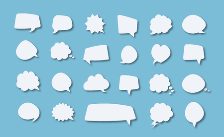 Speech bubble vector set white color with shadow on blue background for your message, chat, communication. Imagens