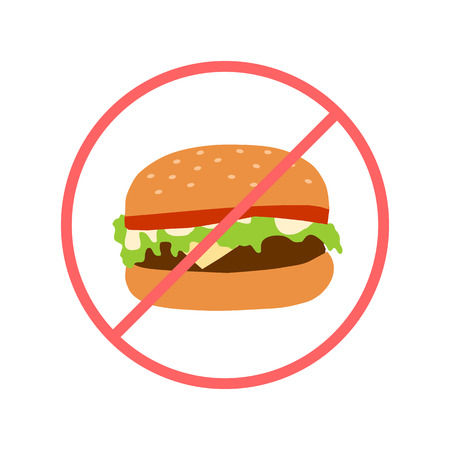 unhealth food sign with hamburger cartoon flat style. Fast food banner. Vector Imagens