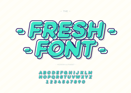 Vector fresh font modern 3d typography color style for promotion, party poster, kids book, greeting card, t shirt, sale banner, printing on fabric, decoration, stamp, special offer Imagens