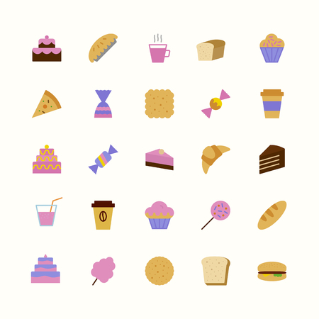 vector icons set of bakery colorful flat style isolated on background with cake and dessert for confectionery store, bakery shop, logo, cafe, restaurant, sweet pattern, packaging paper