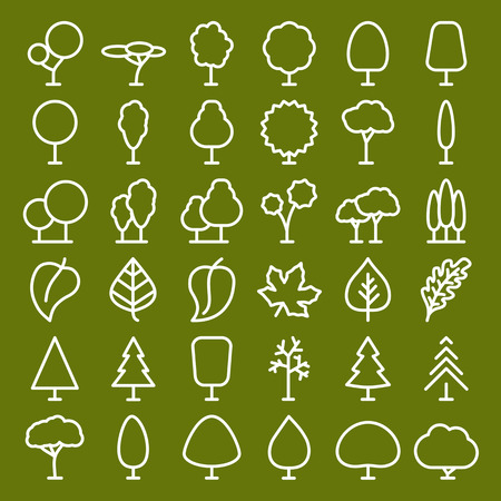 tree and leaf icons set line style for natural product store, , nature cosmetics, ecology company, naturally firm, organic shop, alternative medicine, green unity, farming. Vector Foto de archivo - 123330581
