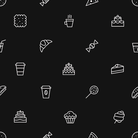 bakery pattern outline style for website, menu, dessert banner, cupcake, sweet shop, cafe, restaurant, packaging wrapping paper. Baked background vector