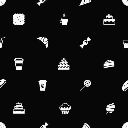 bakery seamless pattern flat style white color for website, menu, dessert banner, cupcake, sweet shop, cafe, restaurant, packaging wrapping paper. Baked background vector Imagens