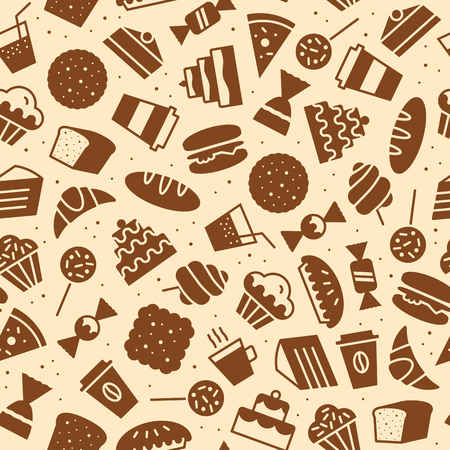 sweet seamless pattern flat style for bakery shop, website, menu, dessert banner, cupcake, cafe, restaurant, packaging wrapping paper. Baked background vector Imagens